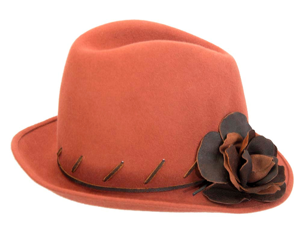 Exclusive rabbit fur fedora hat with leather flower