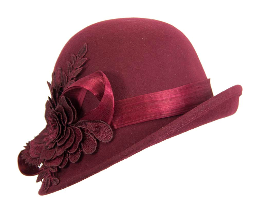 Burgundy wine felt cloche hat with lace by Fillies Collection