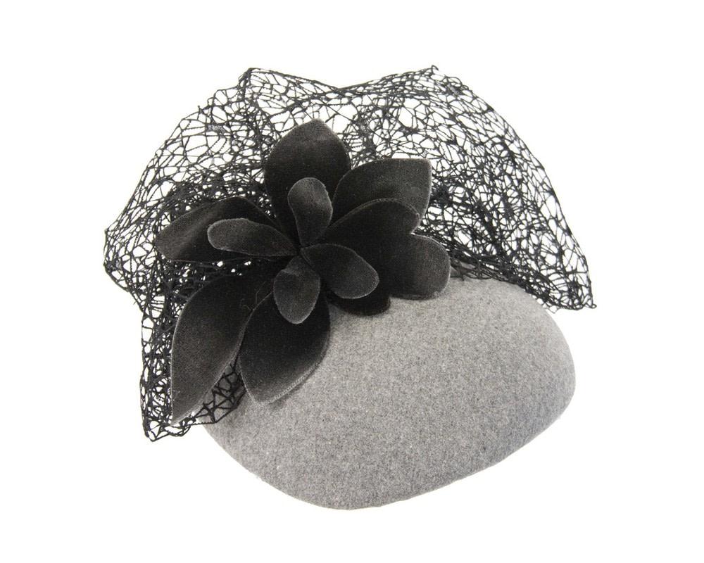 Grey & black winter beret fascinator