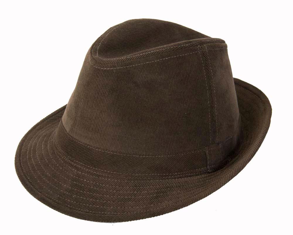 Brown corduroy Fedora Hat M150BR