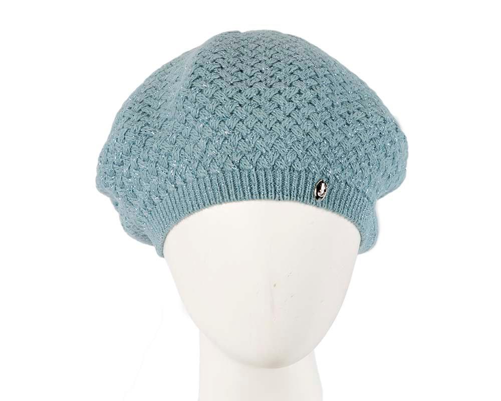 Crocheted wool sea blue beret by Max Alexander