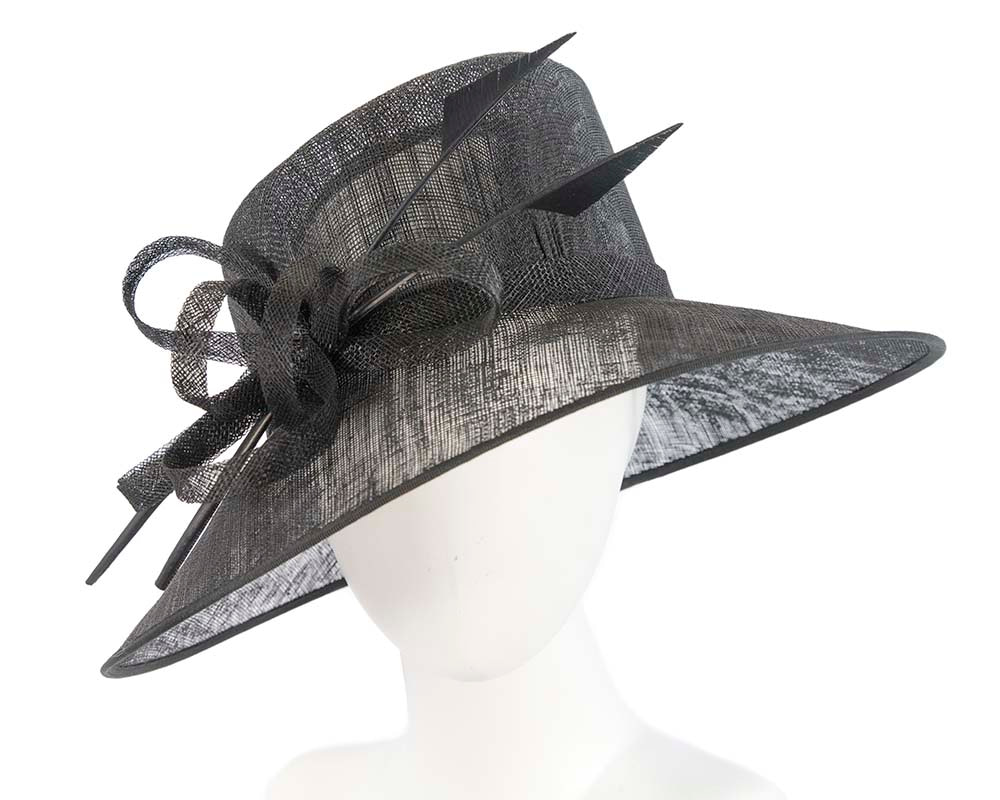 Large Black sinamay hat with feathers by Cupids Millinery