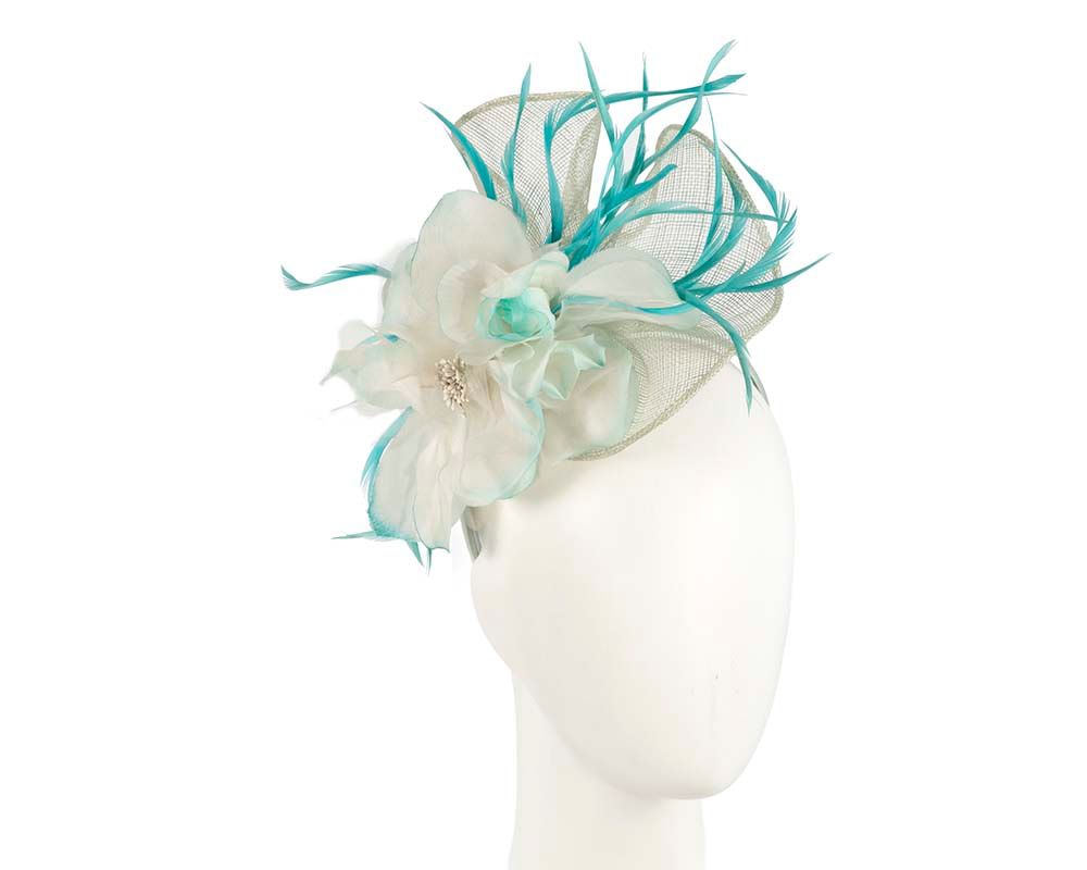 Light blue & turquoise racing fascinator by Cupids Millinery