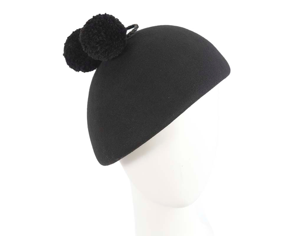 Charming black winter fashion beret hat by Cupids Millinery