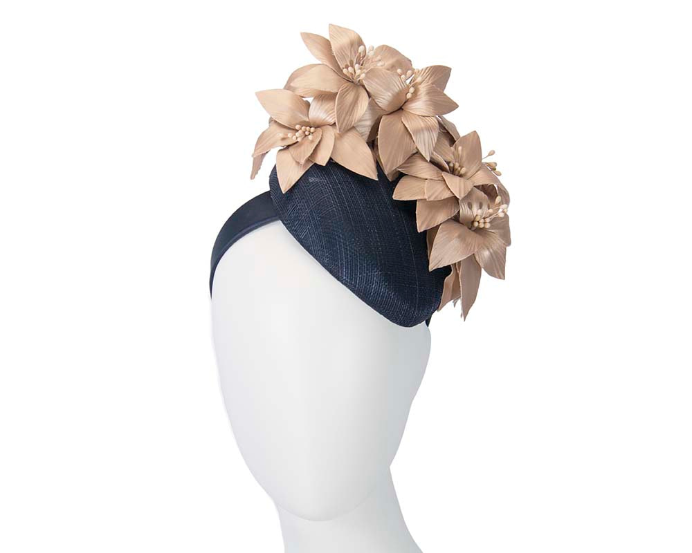 Navy & gold pillbox with leather flowers by Fillies Collection