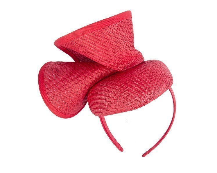 Red pillbox sculptured fascinator by Fillies Collection