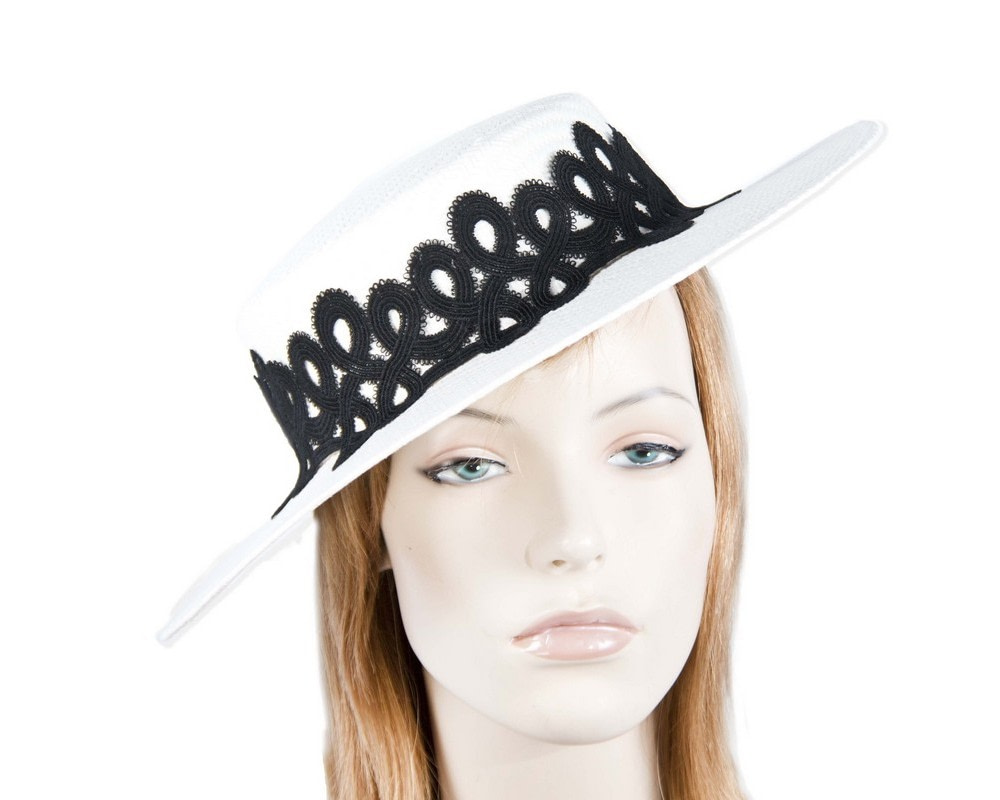 White & Black boater hat with lace