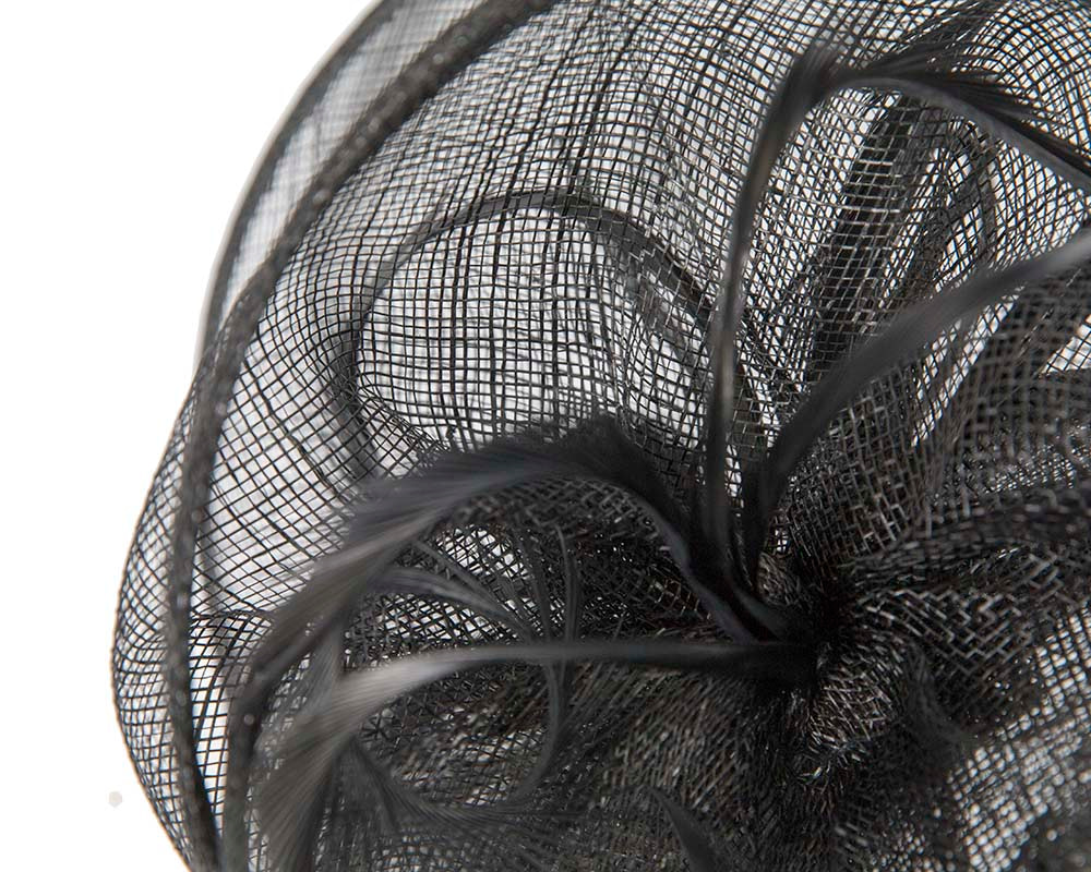 Stylish black sinamay fascinator by Max Alexander
