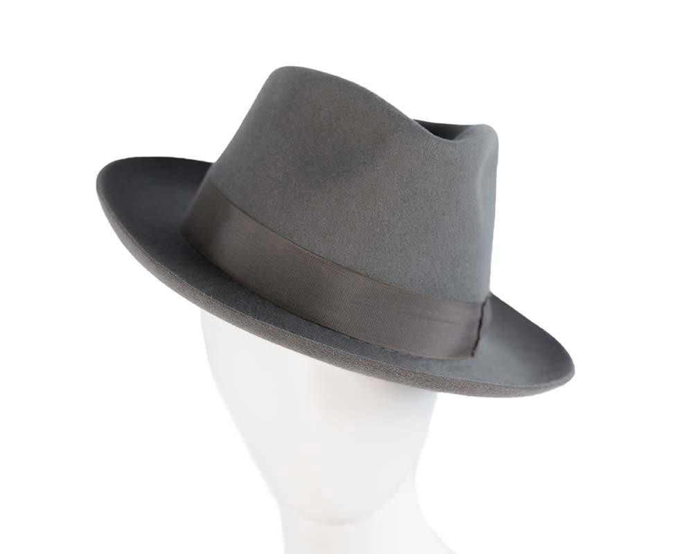 Grey rabbit fur wide brim fedora hat