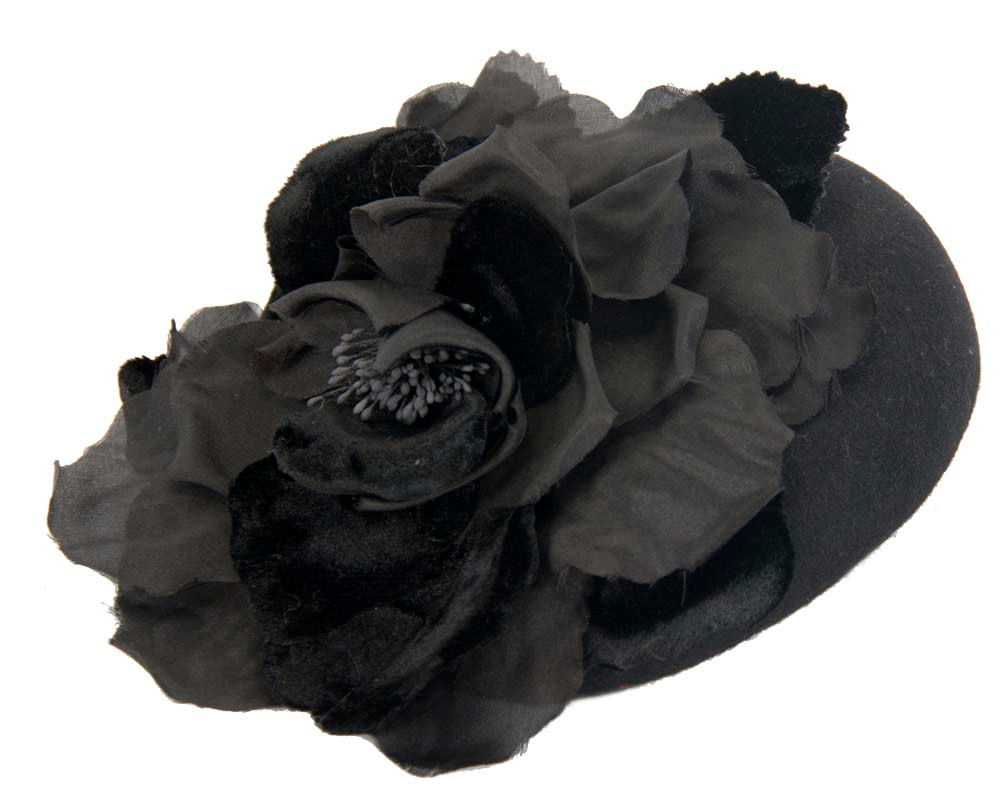 Black pillbox hat with flower for winter racing buy online in Australia F539B