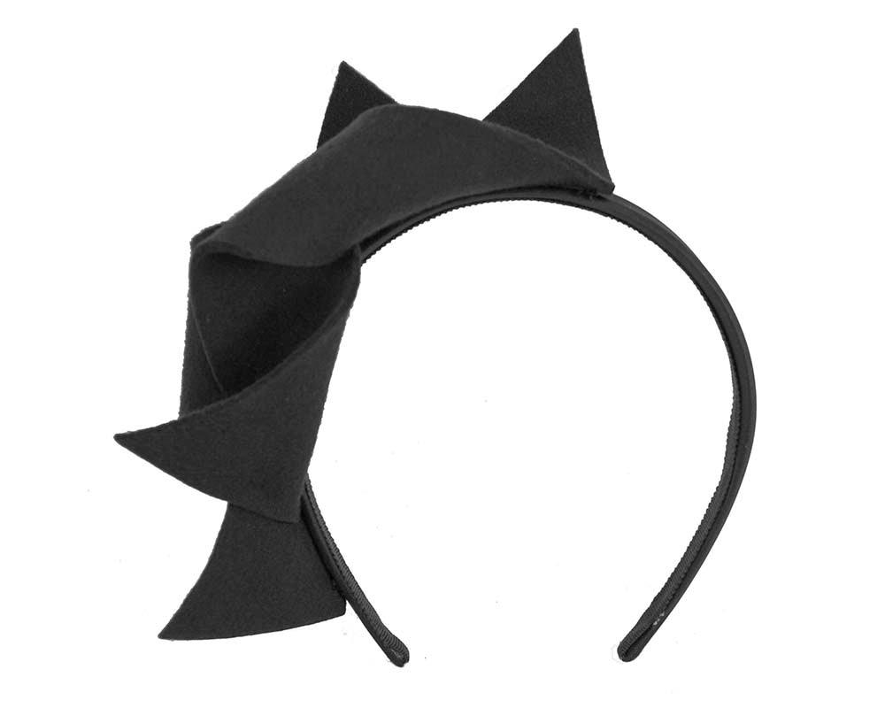 Black felt twisted fascinator headband by Max Alexander