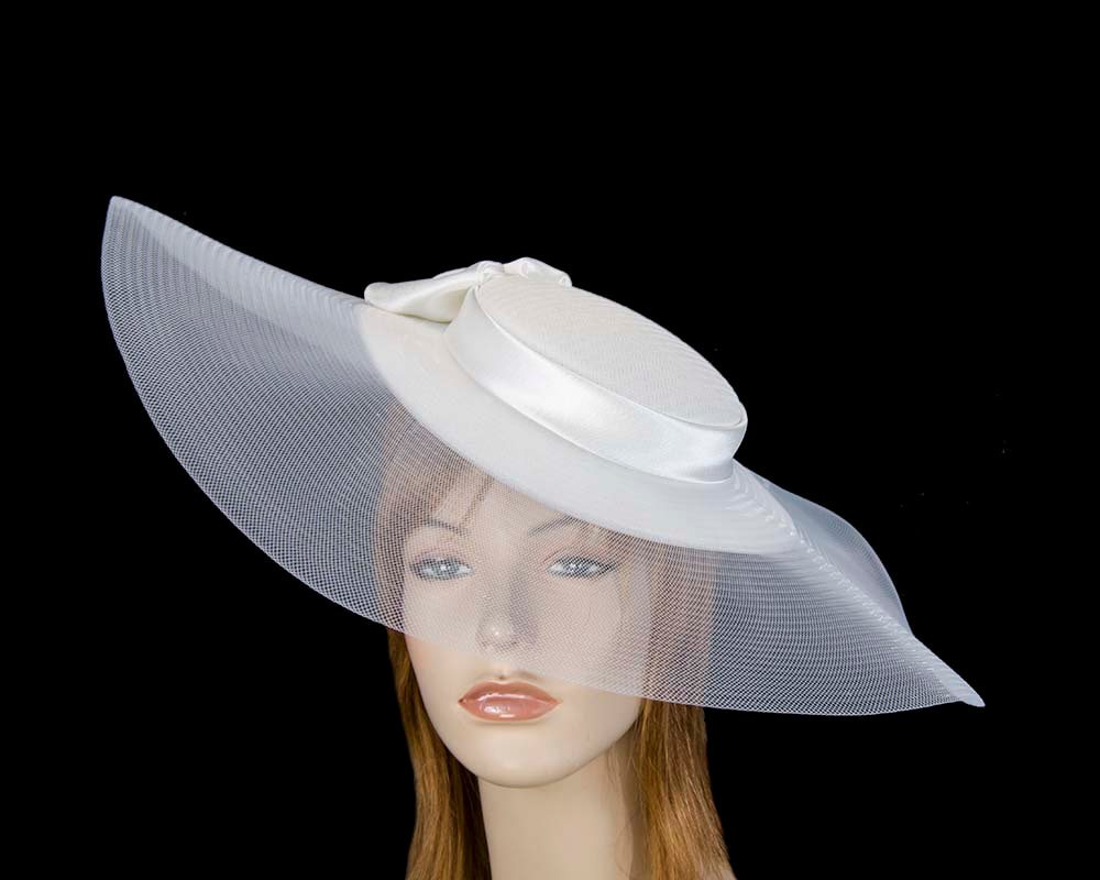 Bespoke white wide brim boater hat