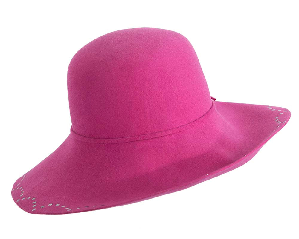 Wide brim fuchsia cloche hat by Cupids Millinery