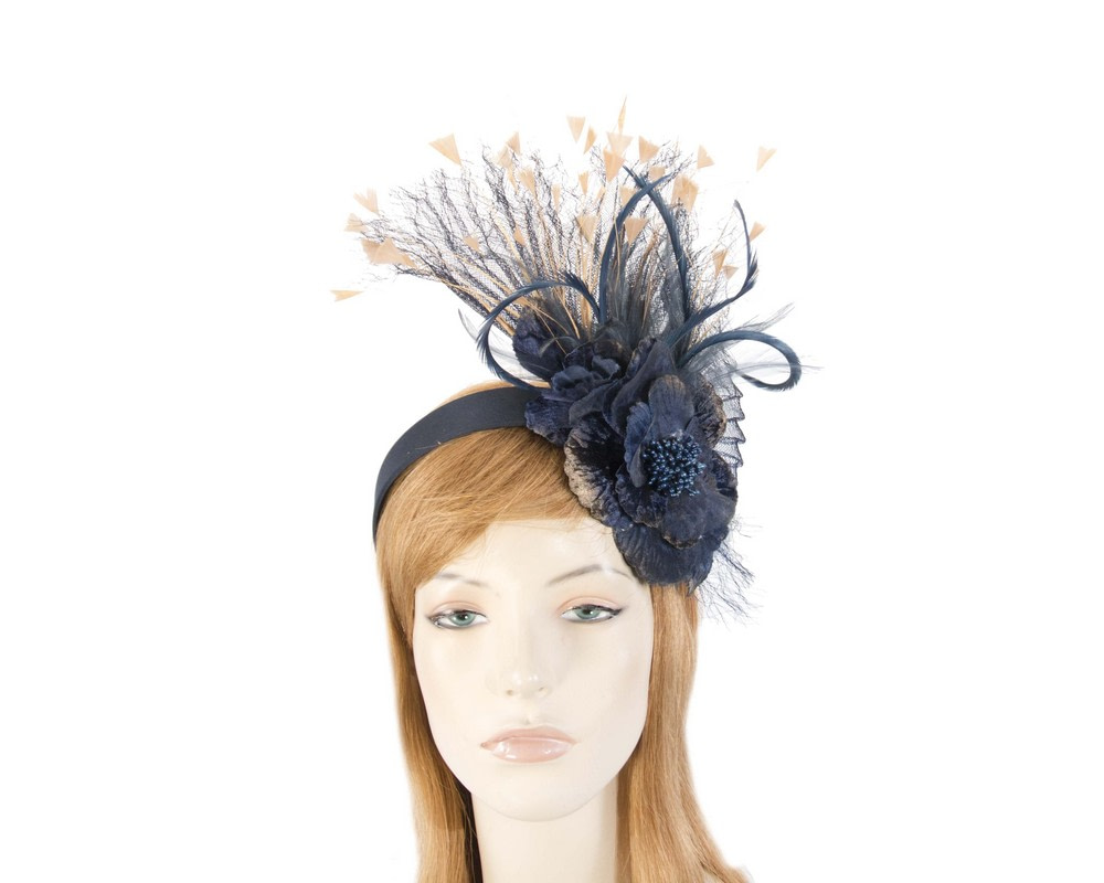Navy & Gold designers flower fascinator
