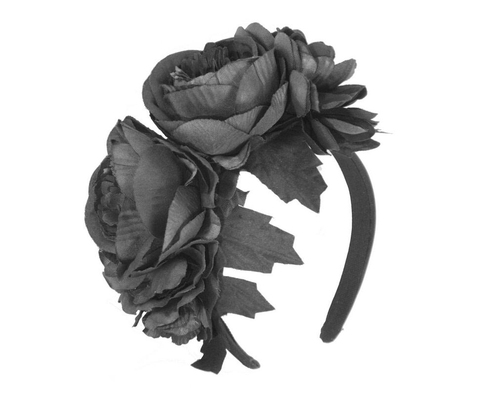 Black flower headband by Max Alexander