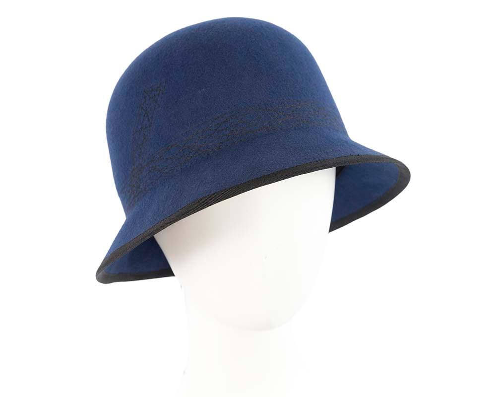 Navy ladies winter bucket hat by Cupids Millinery