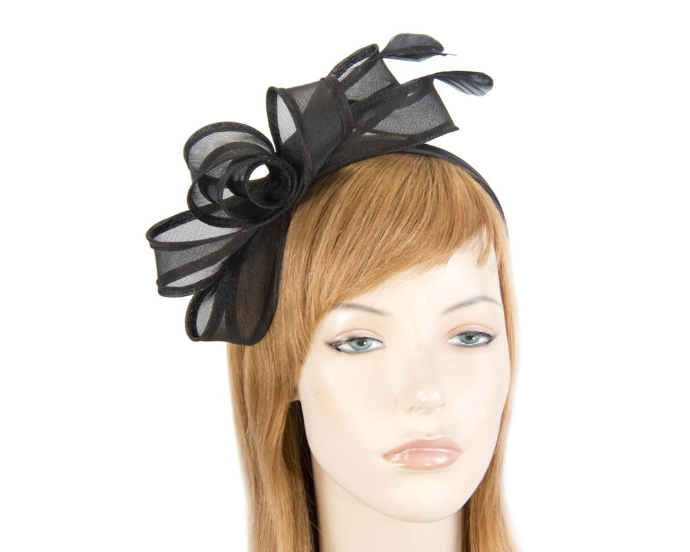 Black organza bow fascinator by Max Alexander