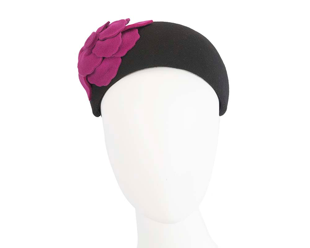 Wide black & fuchsia winter headband with flower by Max Alexander