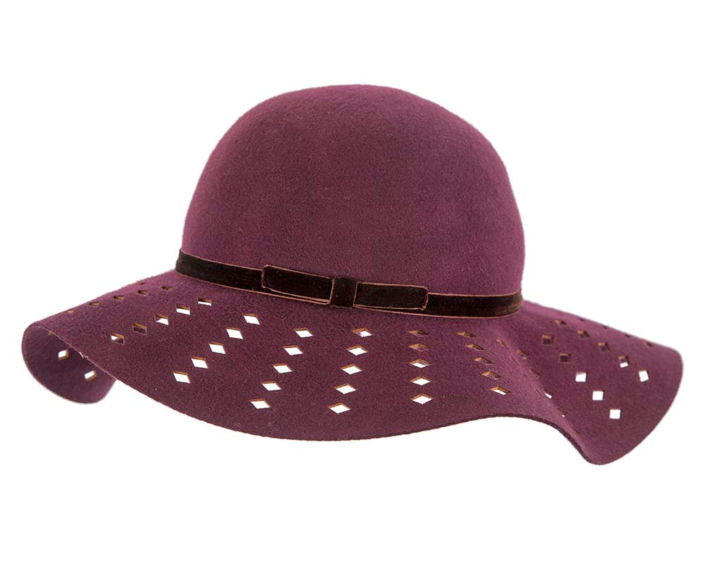 Wide brim burgundy winter cloche hat by Cupids Millinery Melbourne