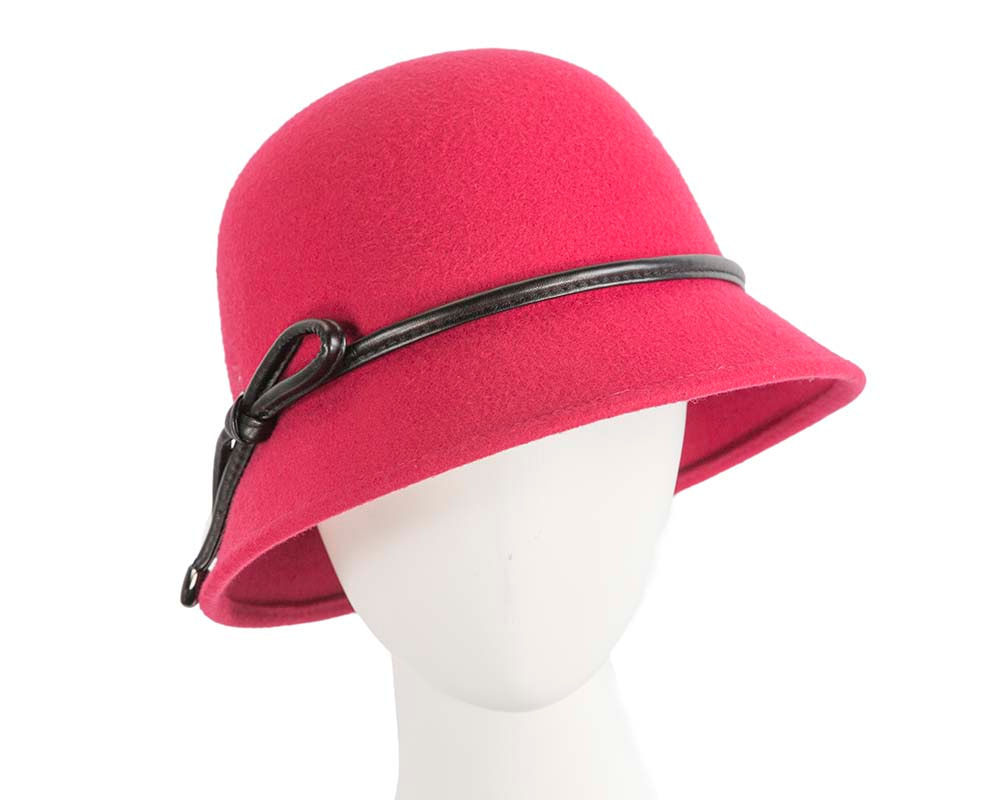 Short brim raspberry red cloche hat by Betmar Hats