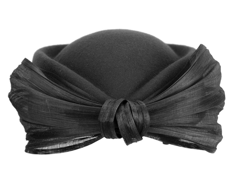 Black Jackie Onassis style felt beret by Fillies Collection