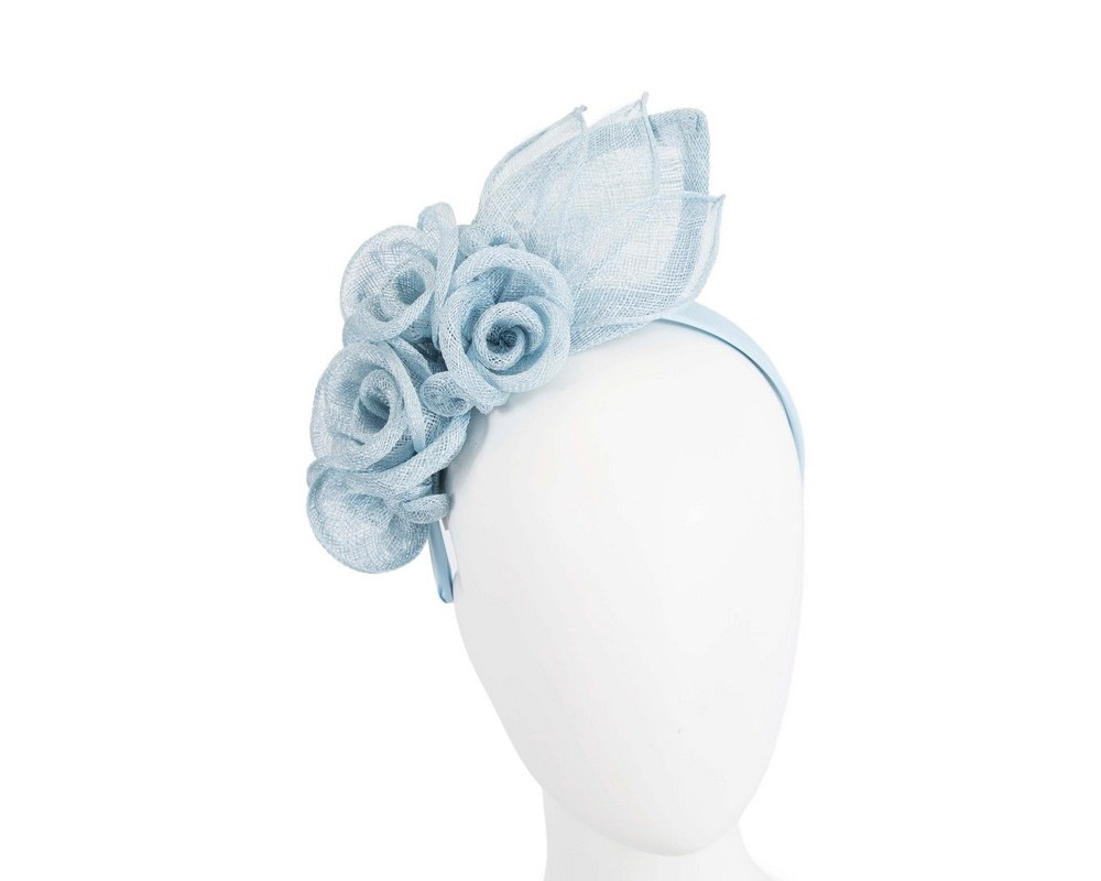 Large light blue sinamay  flower fascinator by Max Alexander