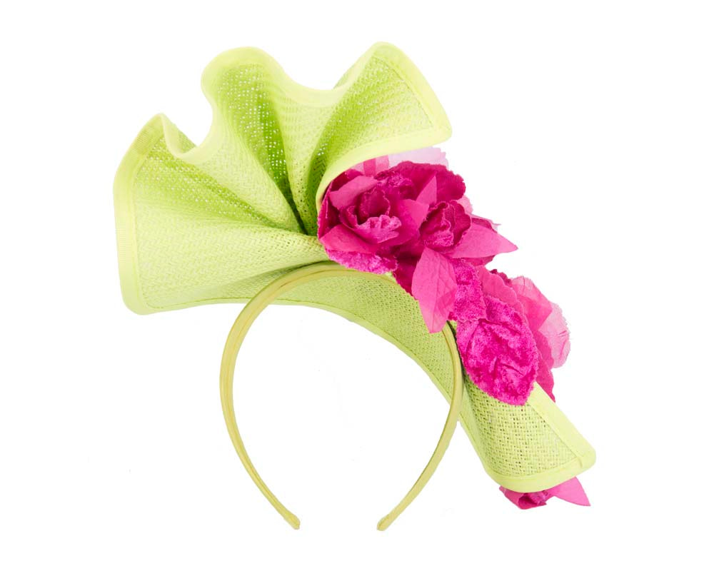 Lime fuchsia Melbourne Cup races fascinator by Fillies Collection