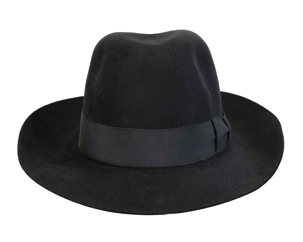 Black rabbit fur wide brim fedora hat
