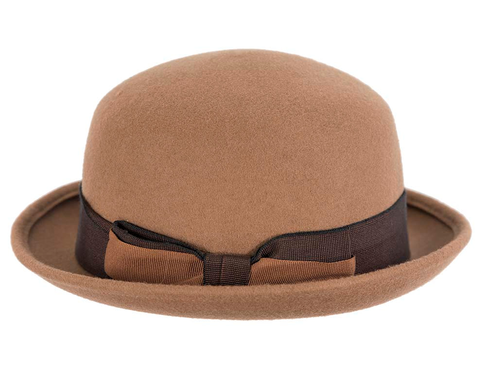 Tan felt bowler hat by Cupids Millinery Melbourne