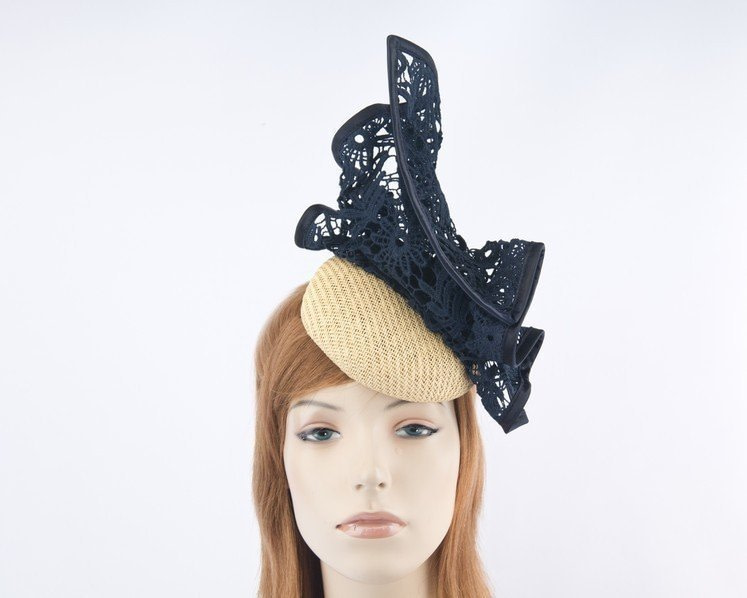 Nude & navy pillbox with lace for Melbourne Cup races by Fillies Collection S166NN