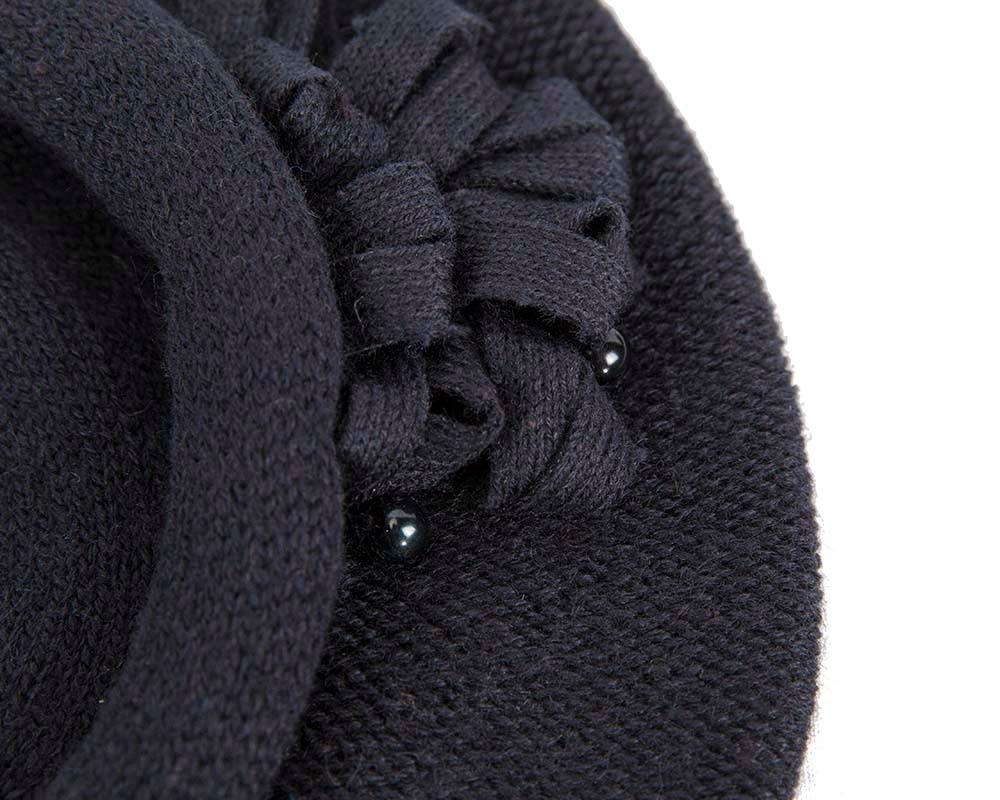 Woolen woven navy beret by Max Alexander