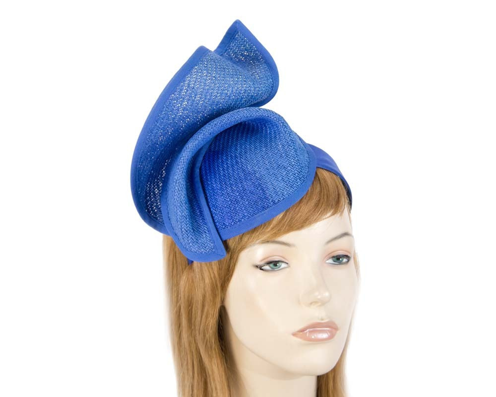 Royal Blue fashion pillbox fascinator hat for races Max Alexander