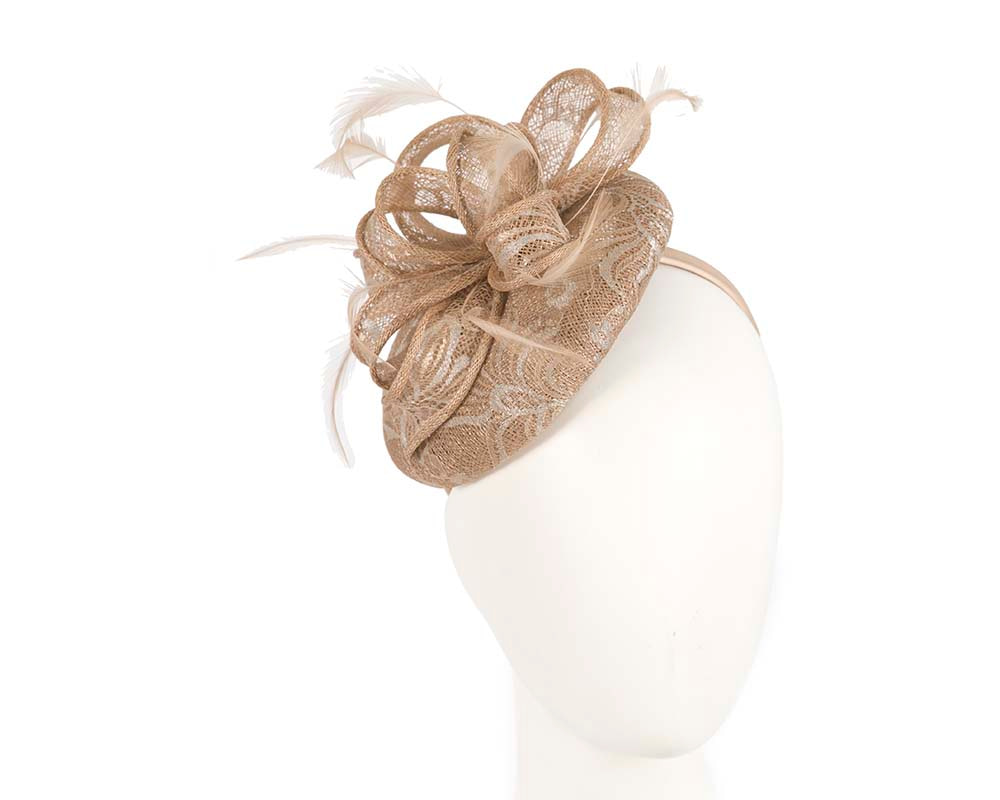 Lace covered fascinator by Cupids Millinery Melbourne