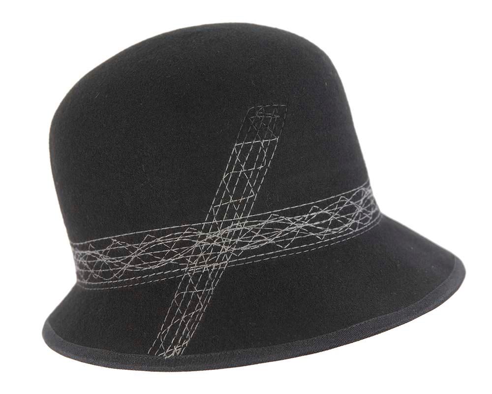 Black ladies winter bucket hat by Cupids Millinery