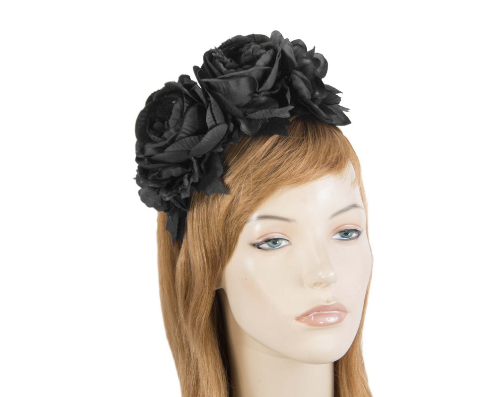 Black flower headband by Max Alexander