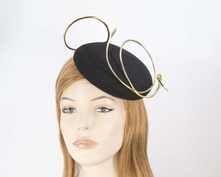 Black felt fascinator hat with gold wire work