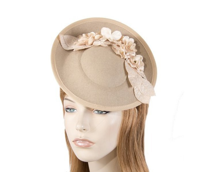 Large beige winter racing fascinator with flowers