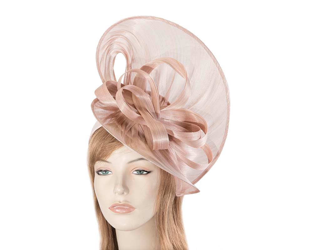 Large blush silk abaca heart fascinator