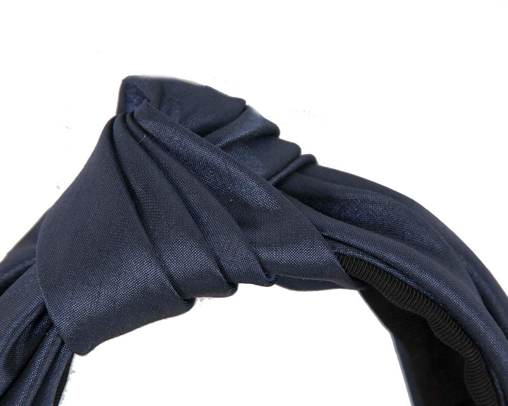 Navy turban headband by Cupids Millinery Melbourne