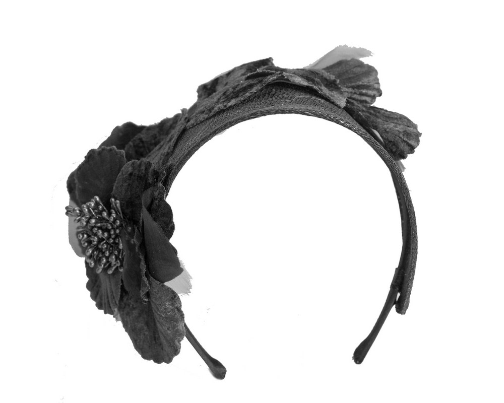 Wide black flower headband fascinator by Max Alexander