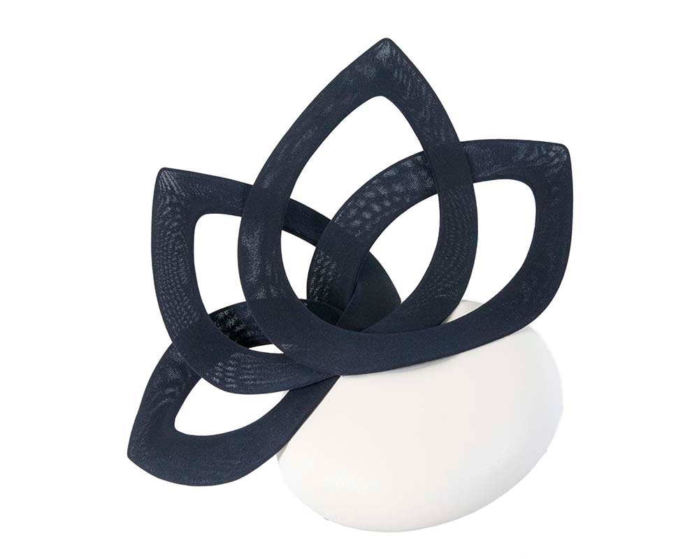 Navy & white leather designers winter racing fascinator by Fillies Collection