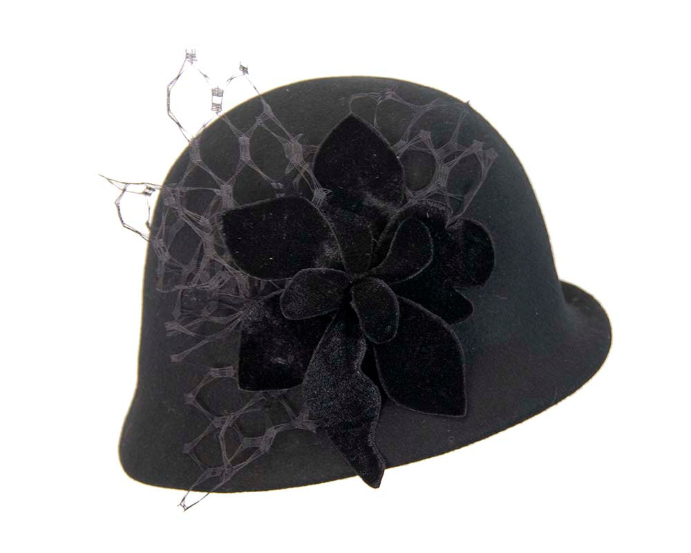 Black felt bucket hat with flower by Fillies Collection