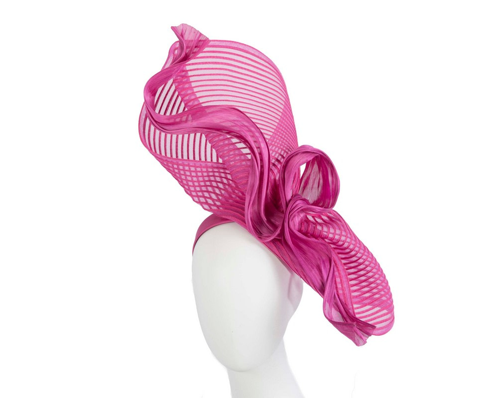 Tall fuchsia bespoke racing fascinator by Fillies Collection