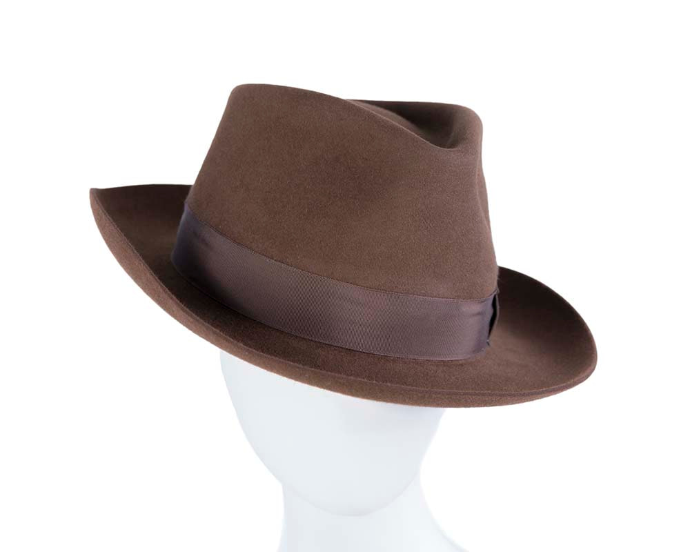 Brown unisex rabbit fur fedora hat
