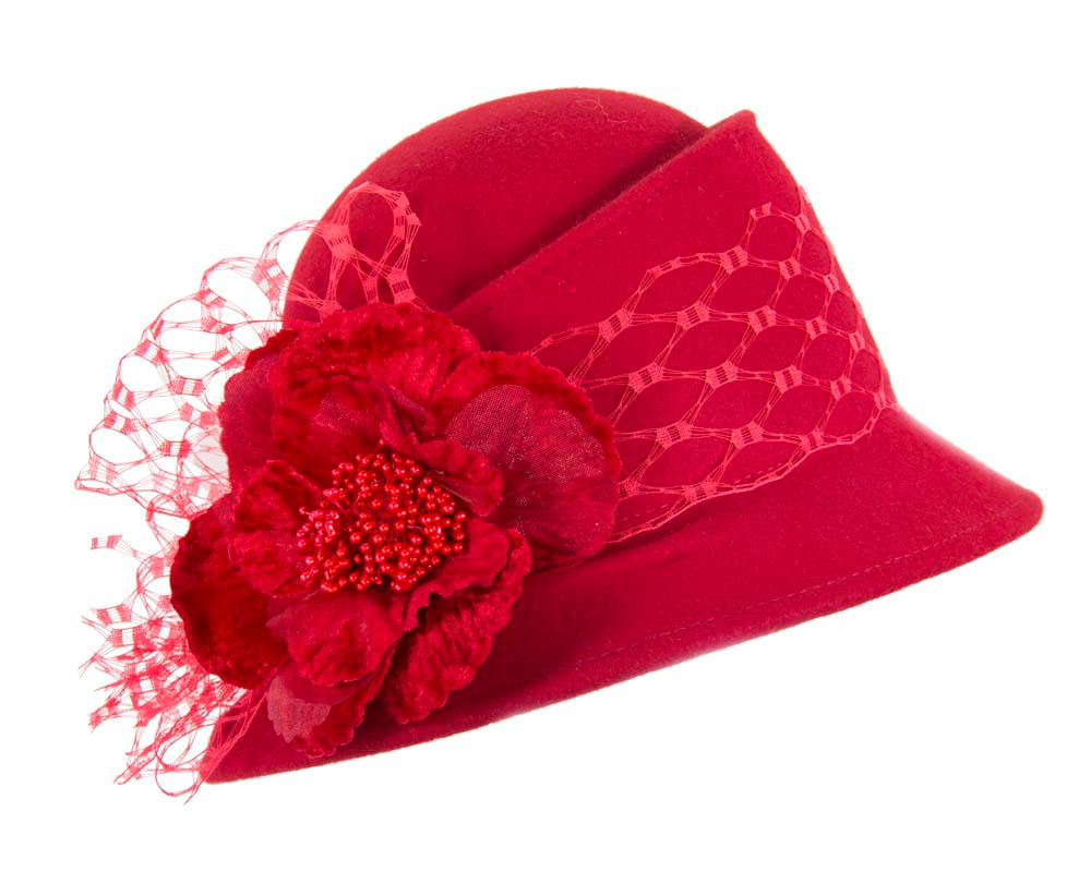Red ladies winter fashion felt hat buy online in Australia F569R