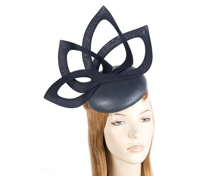 Navy leather designers winter racing fascinator by Fillies Collection