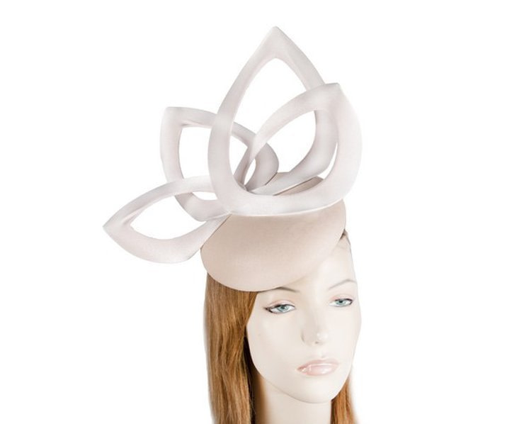 Nude leather designers winter racing fascinator by Fillies Collection