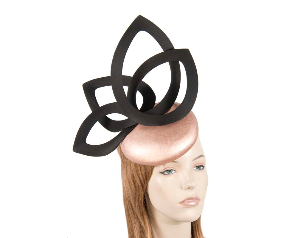 Rose Gold & Black leather designers winter racing fascinator by Fillies Collection