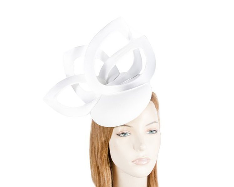 White leather designers winter racing fascinator by Fillies Collection