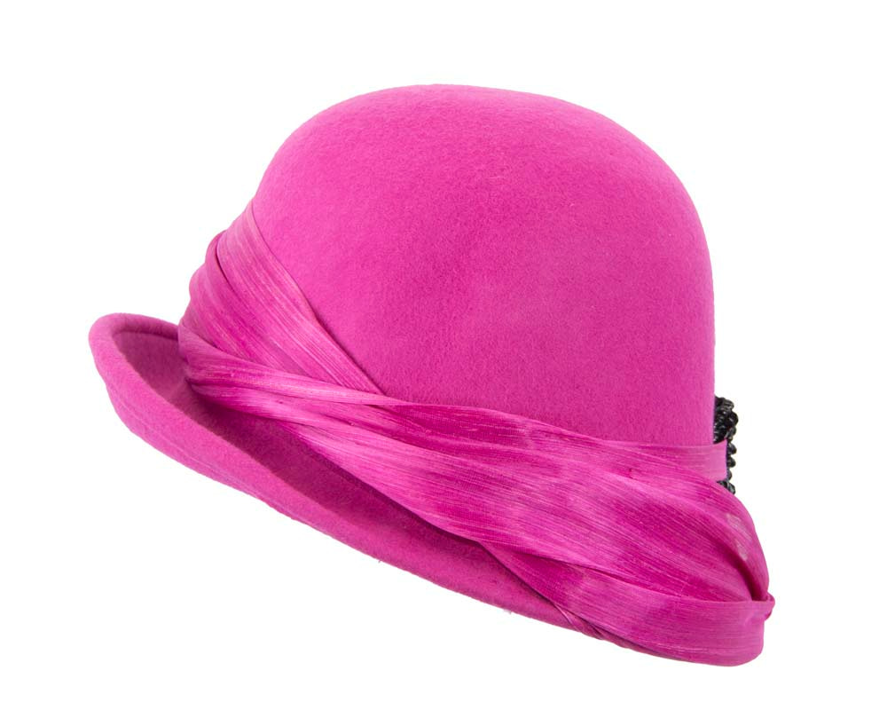 Fuchsia felt draped cloche hat